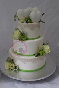 Hochzeitstorte Grün Weiß Herzen