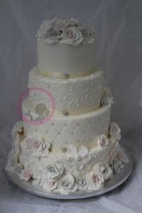 Hochzeitstorte Graue rosa Rosen Icing